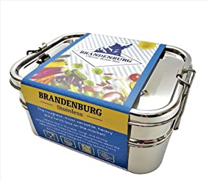 Brandenburg Stainless Steel Bento Box - Heavy Duty Lunch Box, 3 in 1 Food Container - Kid and Adult Friendly,