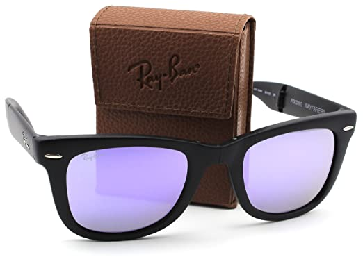 0f2905624 Image Unavailable. Image not available for. Color: Ray-Ban RB4105 601S4K Wayfarer  Folding Matte Black Frame / Lilac Mirror Lens 50mm.