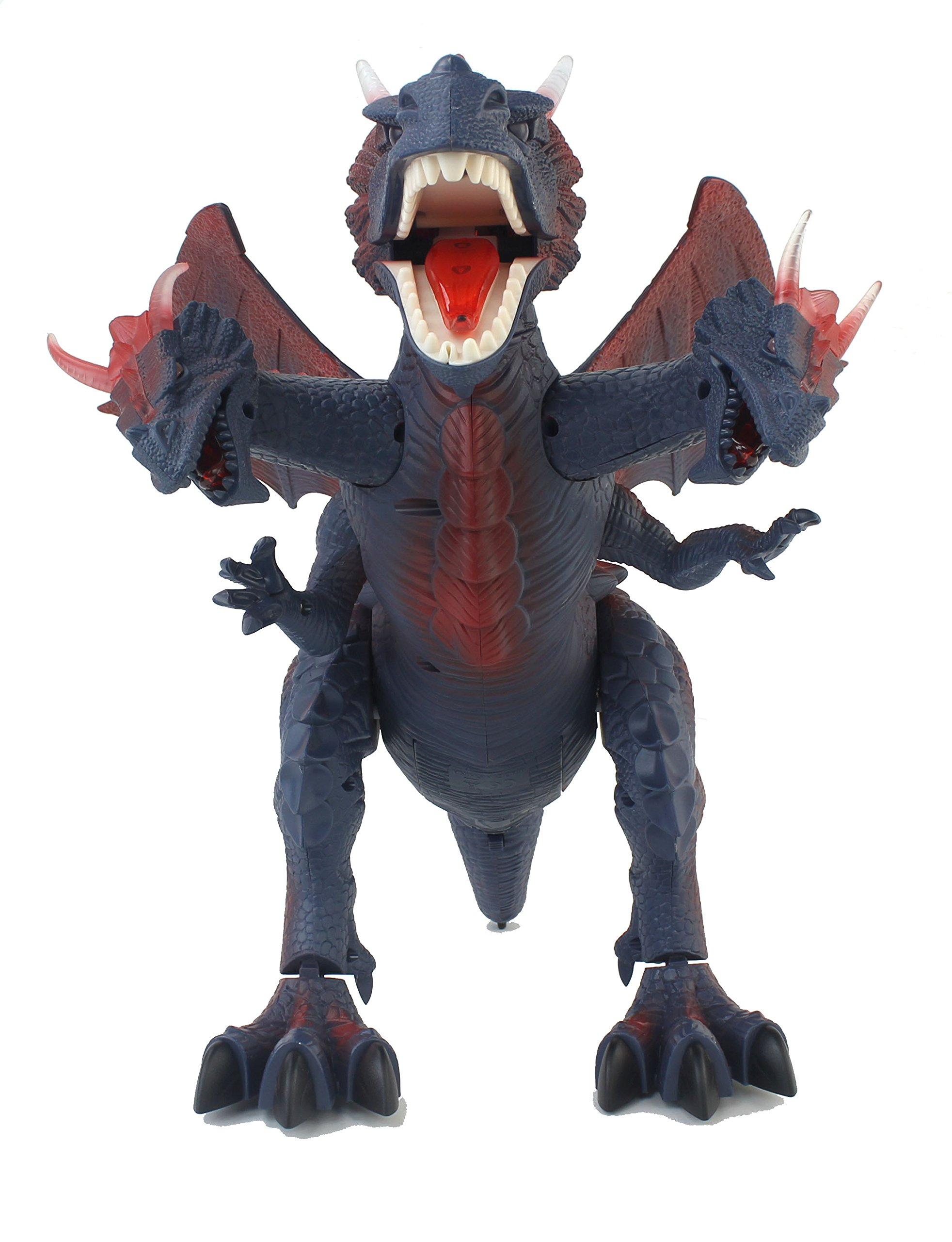 The New World of Dinosaurs Battery Operated Remote Control Toy RC Three Headed Dragon w/ Lights, Sounds, Walking/Wing/Mouth Action, & Flashlight Remote Contro by Velocity Toys (Image #2)