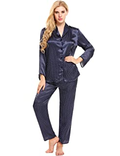 55dc697762 Ekouaer Christmas Pajama Womens Comfy Sleepwear Button Down Satin Nightgown
