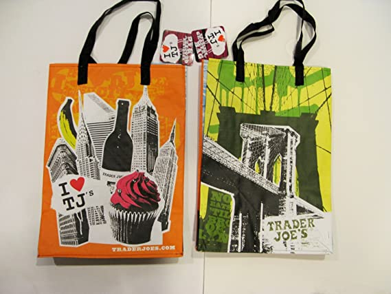 """1 x Trader Joe/'s NEW washable reusable paper grocery shopping bag 14/""""x11.5/""""x7/"""""""