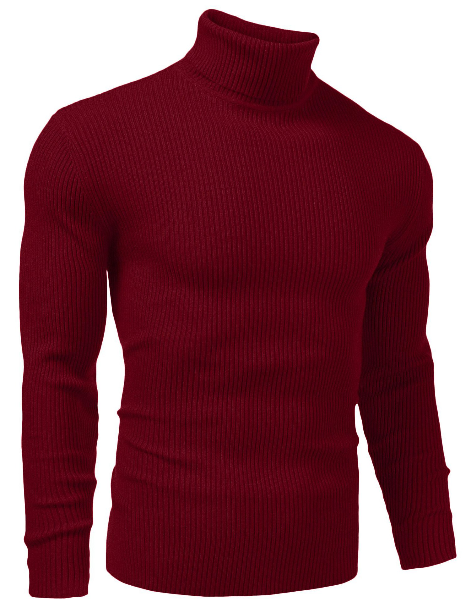 Vansop Mens Long Sleeve Knitted Turtleneck Slim Fit Pullover Thermal Sweaters(Wine Red L)
