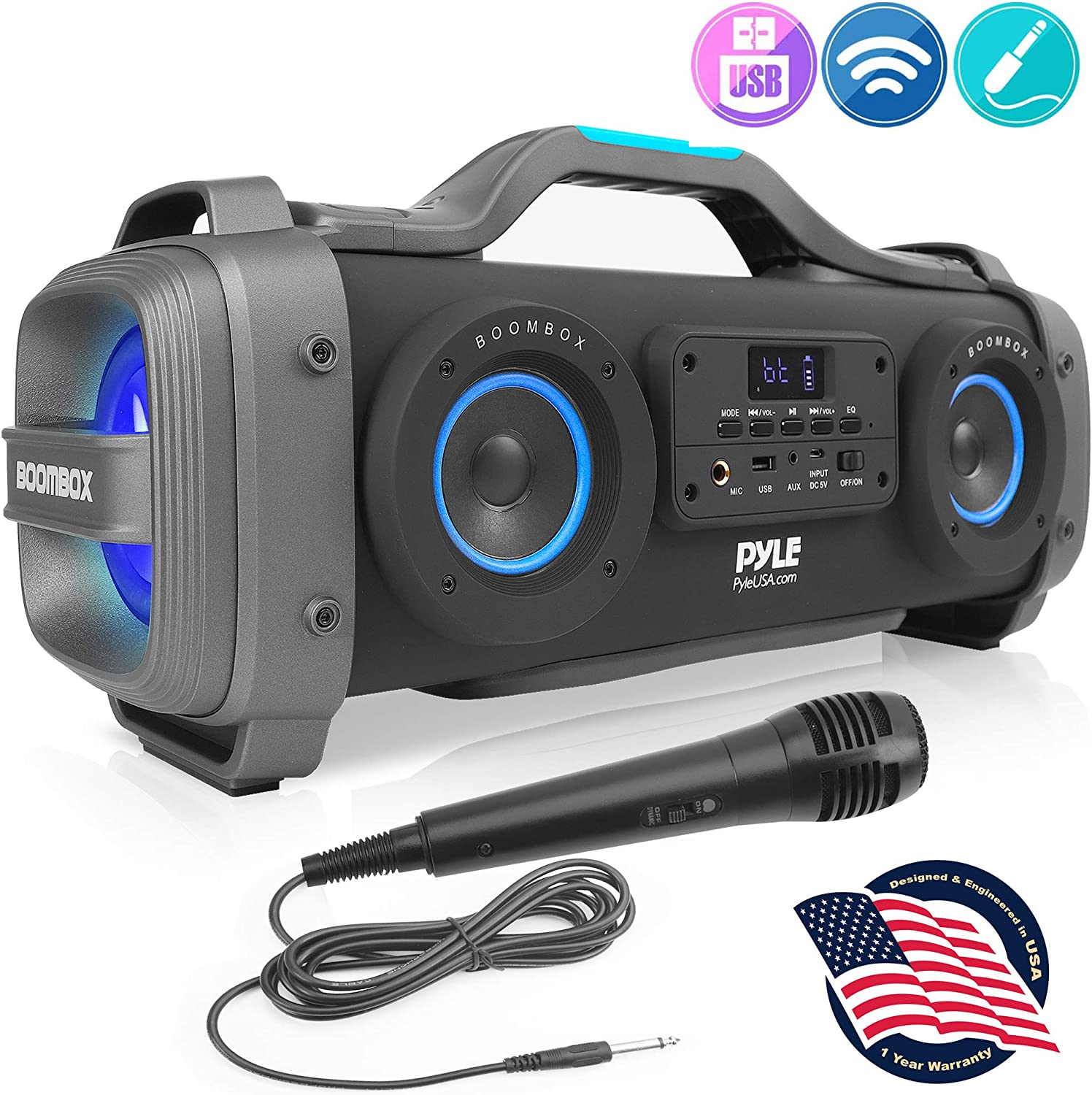 """Wireless Portable Bluetooth Boombox Speaker - 800W Rechargeable Boom Box Speaker Portable Barrel Loud Stereo System with AUX Input, USB, 1/4"""" in, Fm Radio, 4"""" Subwoofer, DJ Lights - Pyle PBMSPG148"""