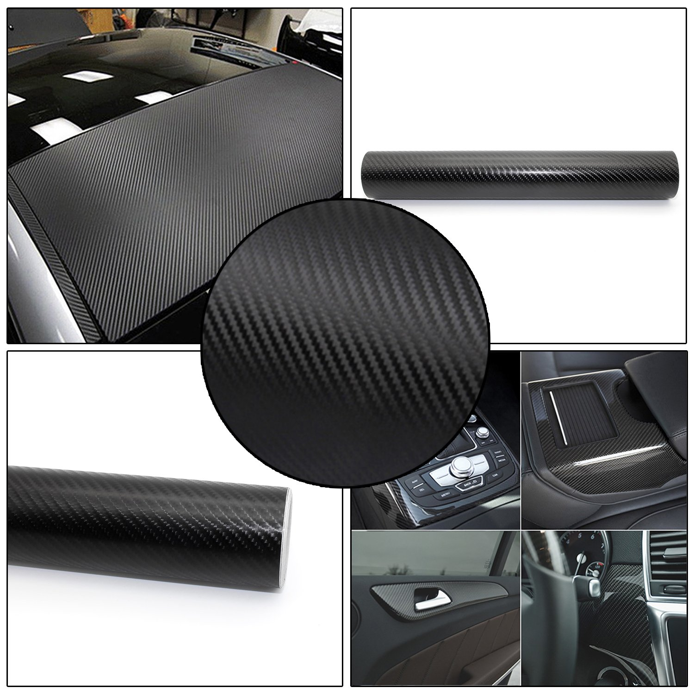4D Car Foil Carbon Foil Autocollant De Voiture Feuille Autocollant Autocollants Auto-Adhé sif Flexible 30 * 200 cm Noir kefflum