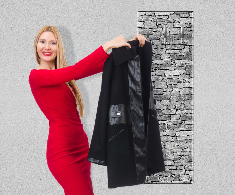 Outdoor Küche Steinmauer : Wandmotiv garderobe set steinmauer jackenständer
