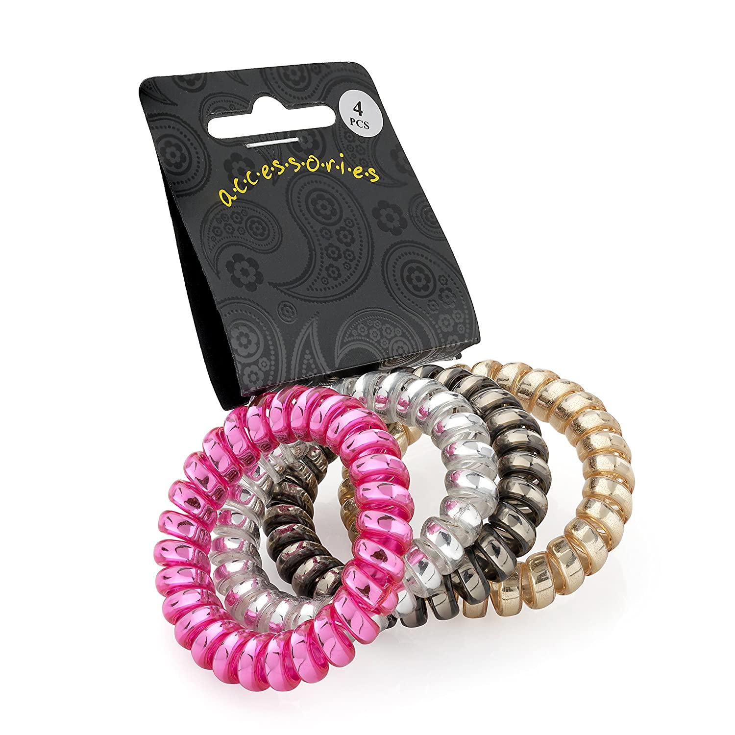 Set of 4 Metallic Telephone Cord Coil Twist Hair Elastics Bobbles Bands Pritties Accessories PRH03182