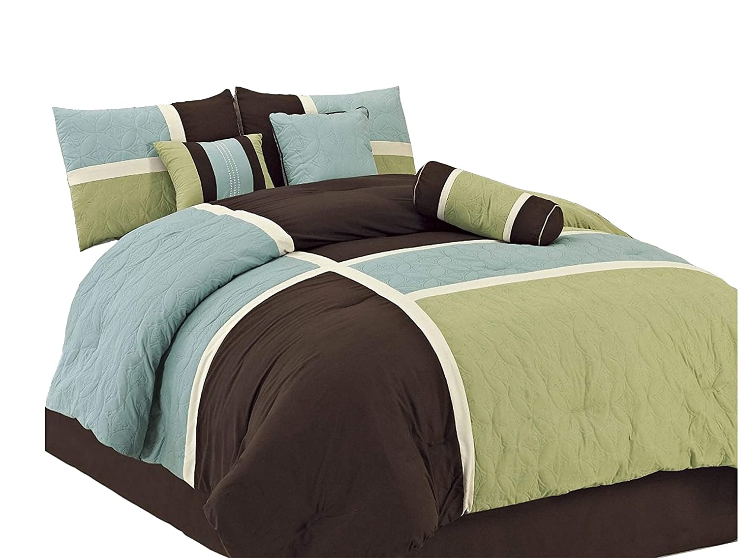 Upland Aqua Blue Sage Green Green Living Group INC Chezmoi Collection 7-Piece Coffee Quilted Patchwork Comforter Set Queen
