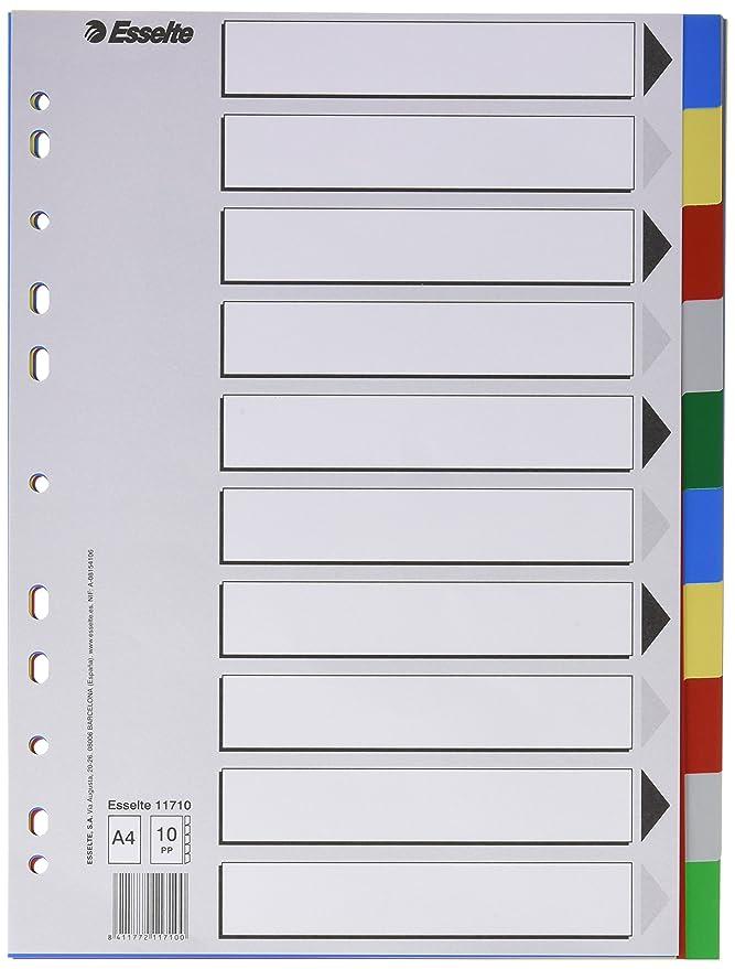 Esselte Separadores de plástico, PP, Tamaño folio, Gama ECO, 5 pestañas, Multicolor, 11609