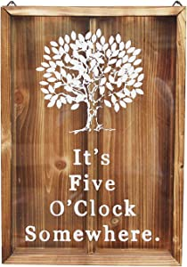 Wine Cork & Beer Cap Holder Shadow Box - Wall Mounted or Free Standing - Rustic Stained Wood (It's Five O'Clock Somewhere, 11.2'' X 8'')