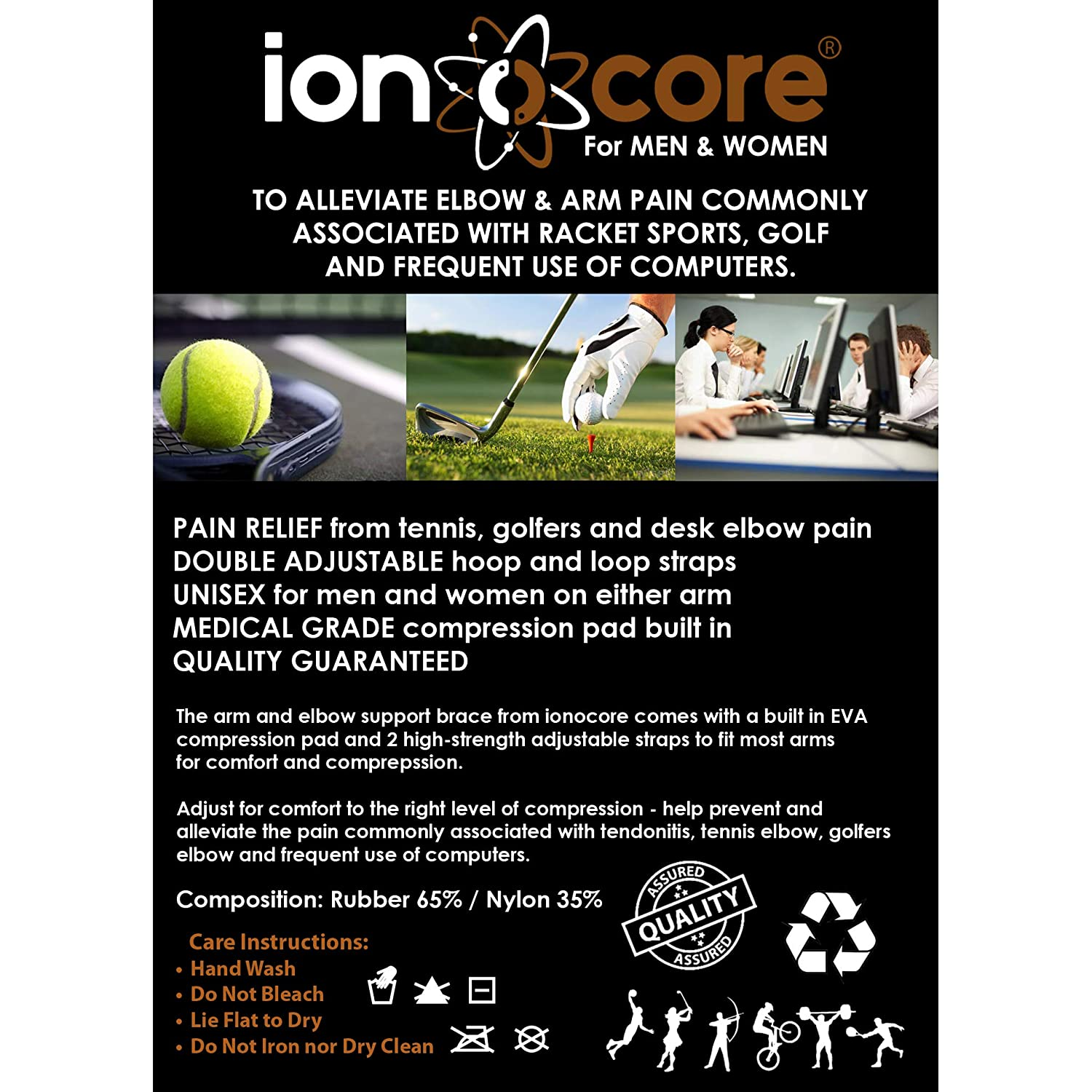 ionocore® Elbow Support Brace - Golf & Tennis Elbow Arm Strap - Lightweight and Adjustable with EVA Compression Pad - One-Size (2)