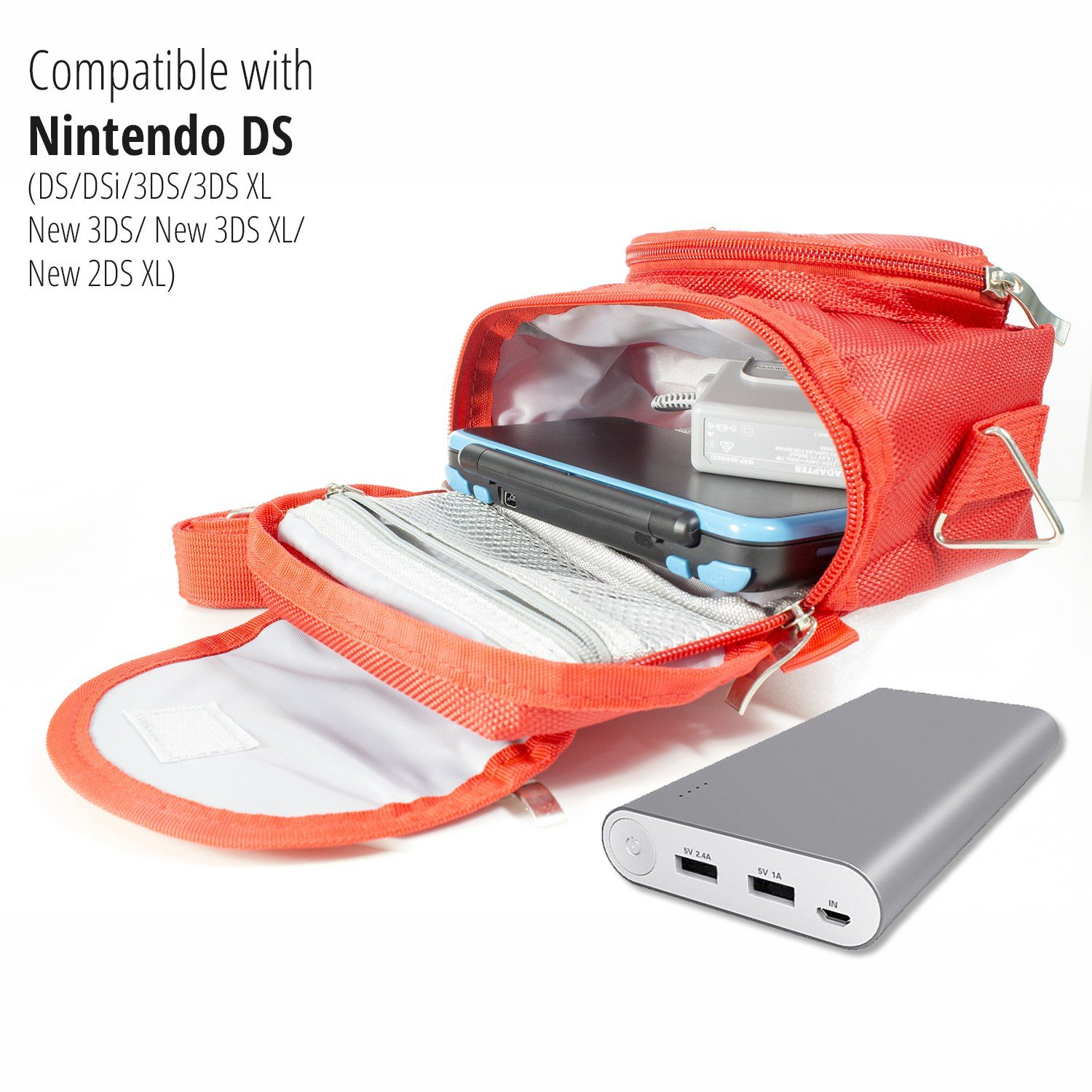 Orzly Travel Bag for Nintendo DS Consoles (New 2DS XL / 3DS / 3DS XL / New 3DS / New 3DS XL / Original DS / DS Lite / DSi / etc.) - Includes Belt Loop, Carry Handle, Shoulder Strap - RED