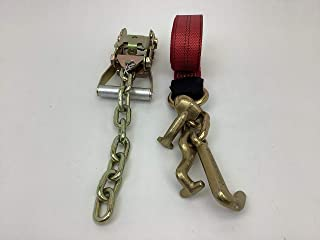 product image for Safe 'n Secure RTJ Cluster Hook Frame Strap and Ratchet Auto Tie Down Tow Truck Roll Back Car Hauler Wrecker (1, Red & Chain Ratchet)