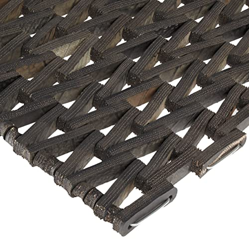 Durable Durite Recycled Tire-Link Outdoor Entrance Mat, Herringbone Weave, 36 x 72 , Black