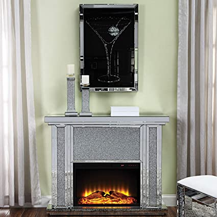 Amazon ACME Furniture Nowles Electric Fireplace Mirror Faux