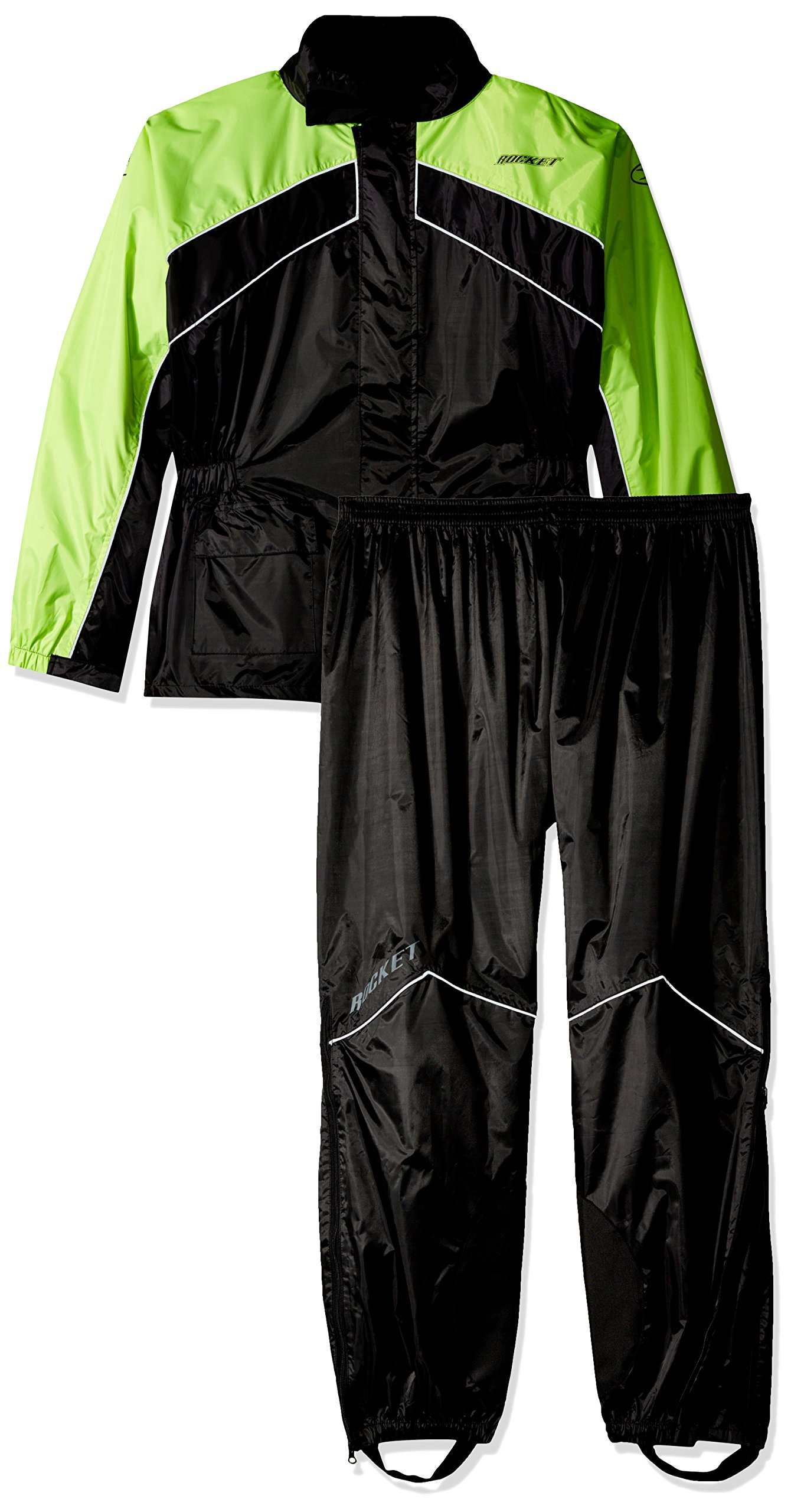 Joe Rocket RS-2 Men's Motorcycle Rain Suit (Black/Hi-Viz, Medium)