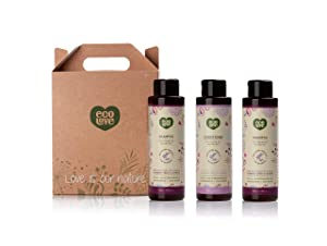 ecoLove Natural Shampoo + Conditioner Set (Pack of 3, 2 x Shampoo 1 x Conditioner) for Color Treated Hair Dry Damaged Hair with Organic Blueberry Grape and Lavender Extract SLS Free (3 x 17.6 oz)