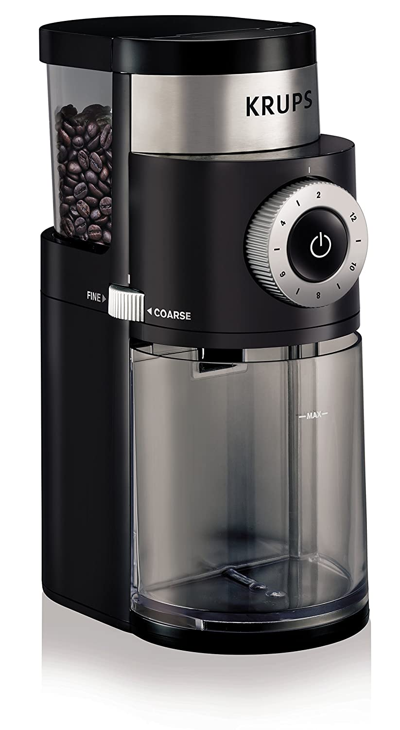 KRUPS GX5000 Burr Coffee Grinder, Electric Coffee Grinder with Grind Size and Cup Selection, 7 Ounce, Black (Renewed)