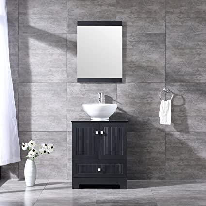 Walcut 24Inch Black Bathroom Vanity With Ceramic Vessel Sink And Faucet  Combo (24Inch, Blacku0026Bowl