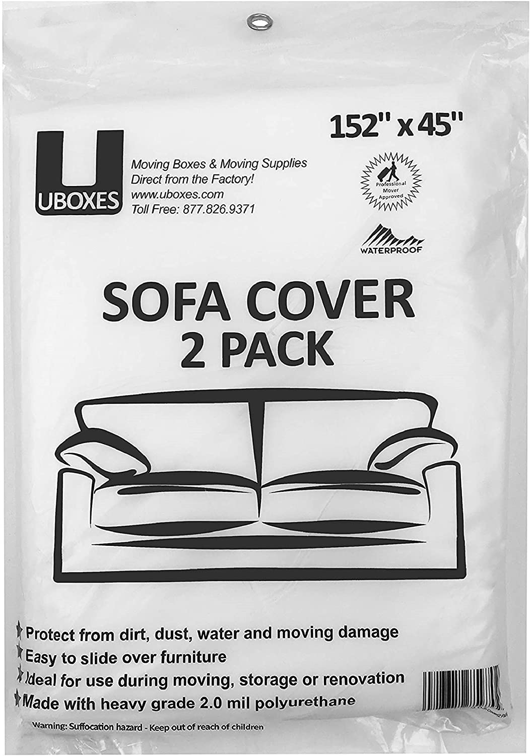 "SOFA Moving Covers (2 Pack) - 45"" x 152"" - Moving & Storage Bags - UBOXES"