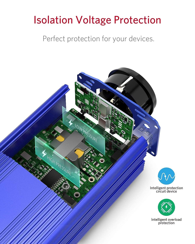 Spannungswandler 12v 230v 300W Wechselrichter//BESTEK Stromwandler 12 auf 230 Inverter//mit T/üv Zertifiziert und 2 USB Anschl/üsse inkl Kfz Zigarettenanz/ünder Stecker,Blau