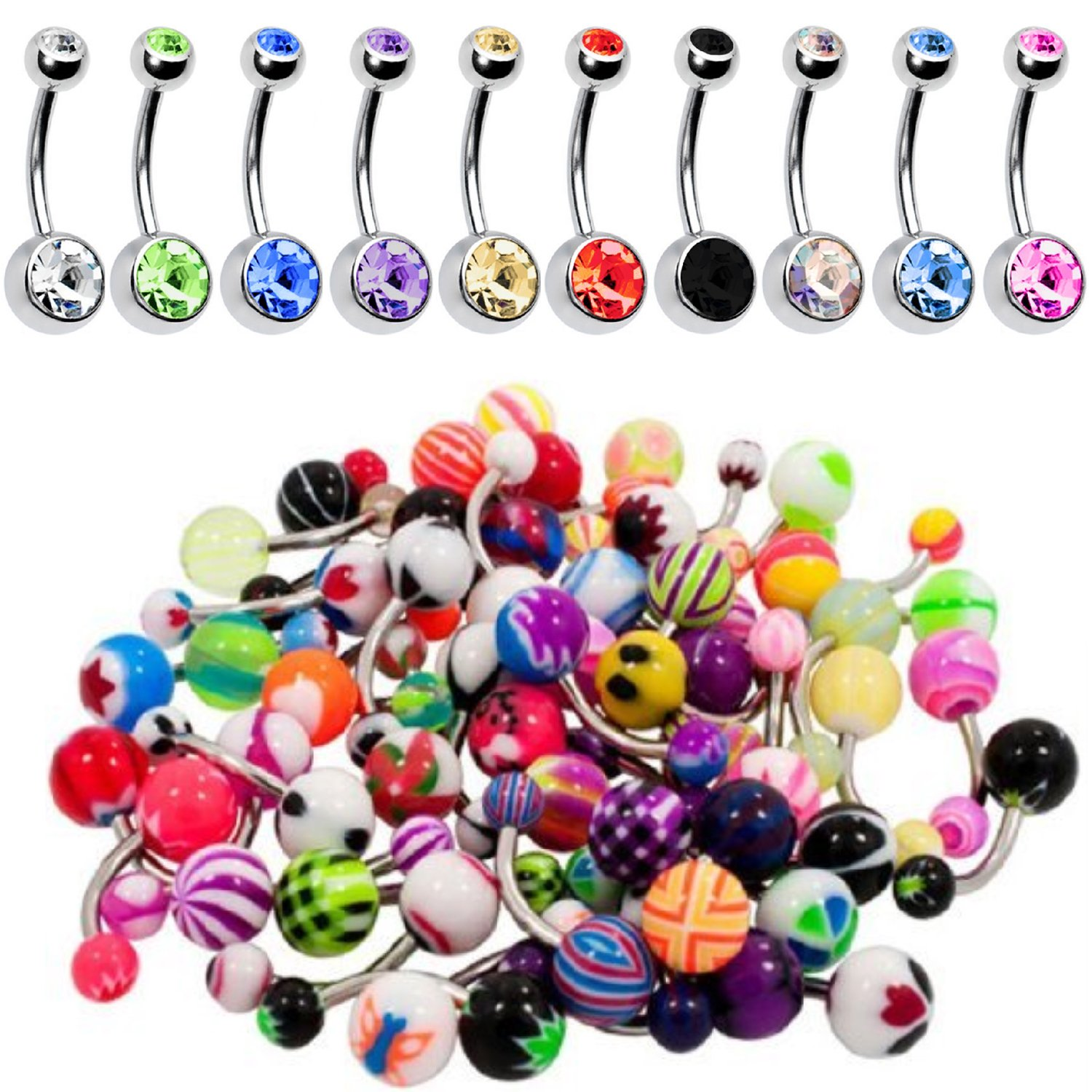 BodyJ4You 60PC Belly Button Ring Set 14G Mix CZ Steel Acrylic Bioflex Banana Bar Body Piercing Jewelry BN1520