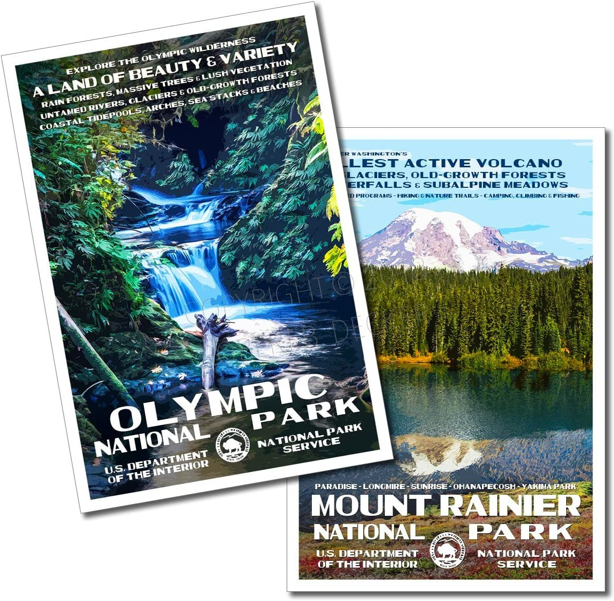 Amazon Com Olympic National Park Mount Rainier National Park Posters 2 Pack Original Artwork 13 X 19 By Rob Decker Wpa Style Posters Prints