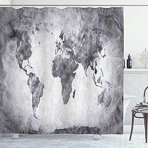 Ambesonne Modern Shower Curtain, Vintage World Map with Dark Nostalgic Tones Featured Displays Background Image, Cloth Fabric Bathroom Decor Set with Hooks, 75