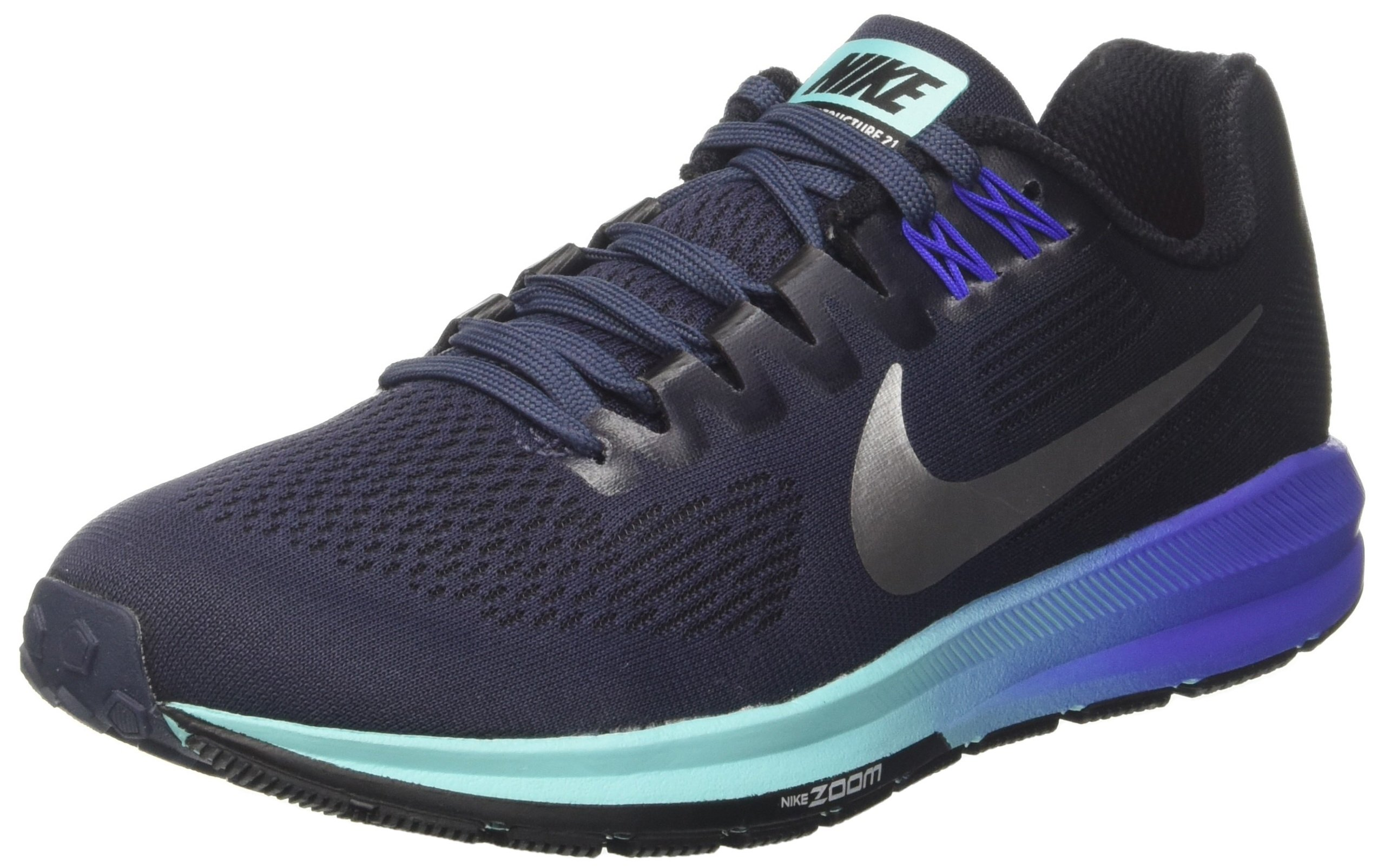 b1ab7813a48 Galleon - Nike Women s Air Zoom Structure 21 Running Shoe Thunder  Blue Metallic Silver Black Size 7 M US