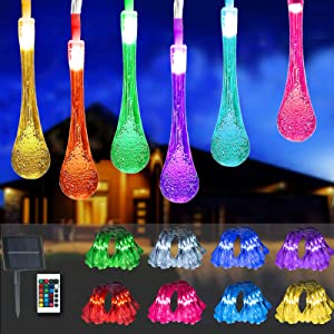 Elnsivo Solar String Lights Water Drop Christmas Lights Solar Powered 26ft 50LED Remote Control 16 Color Changing Garden Crystal Lights Waterproof Outdoor Decorative Lights for Garden Patio Home