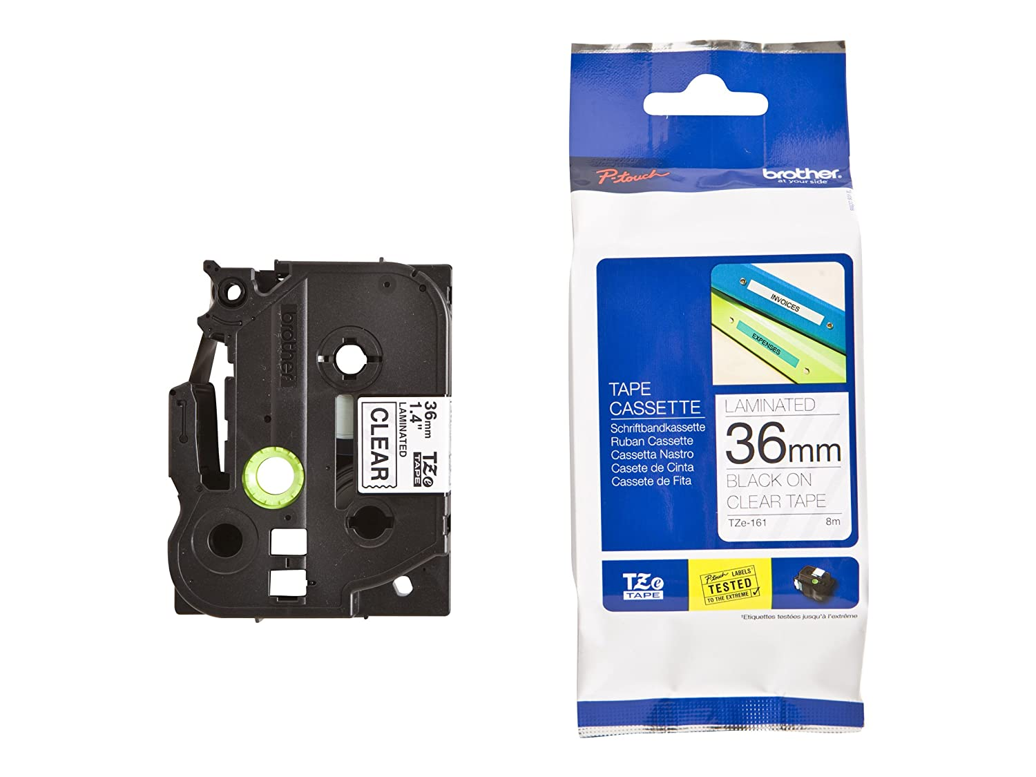 Brother Laminated Tape White on Black18mm (Tze345)-Retail Packaging