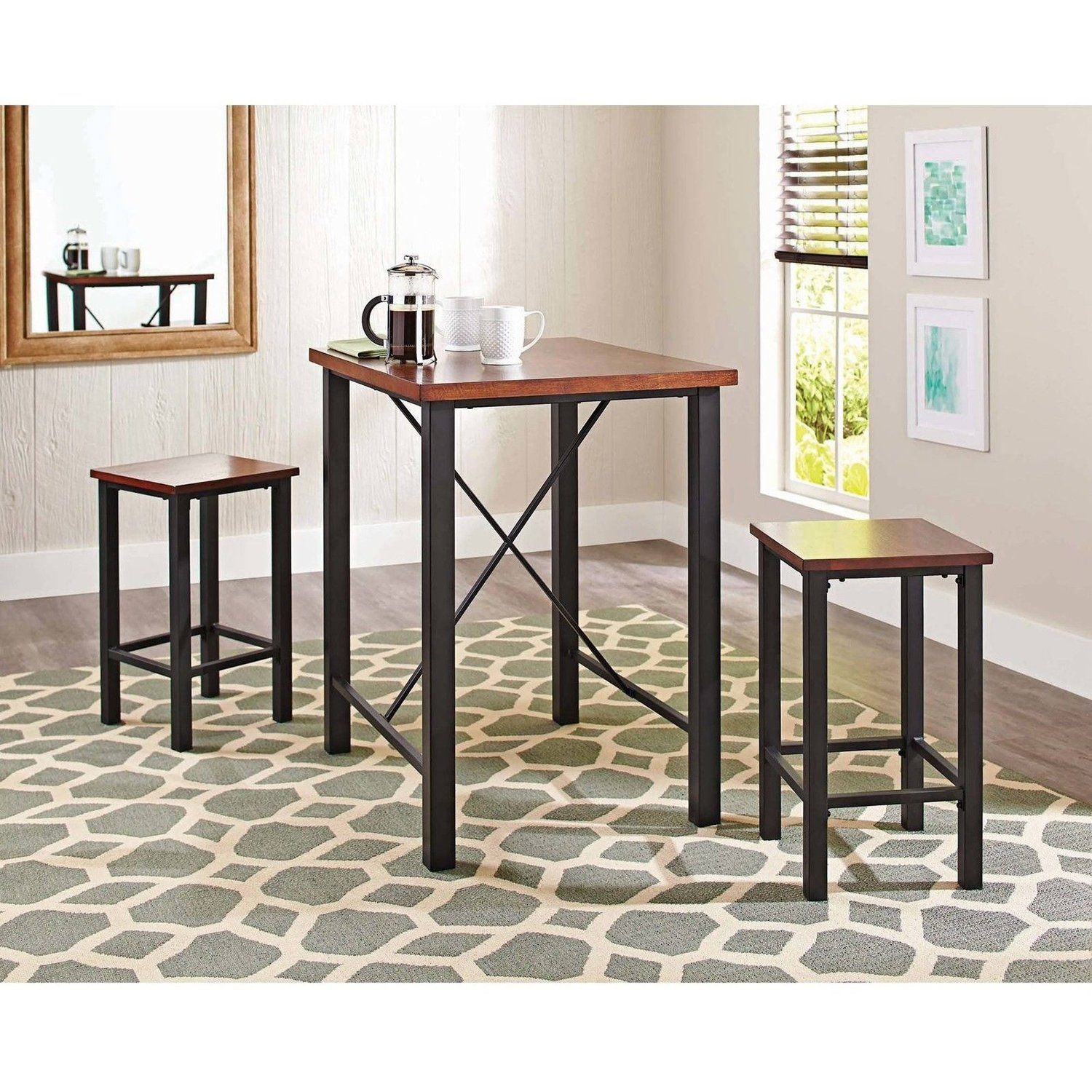 Amazon.com   Gracelove Dinette Sets For Small Spaces Pub Table Set 3 Piece Kitchen  Furniture Chairs (US Stock)   Table U0026 Chair Sets