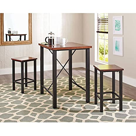 Gracelove Dinette Sets For Small Spaces Pub Table Set 3 Piece Kitchen  Furniture Chairs (US