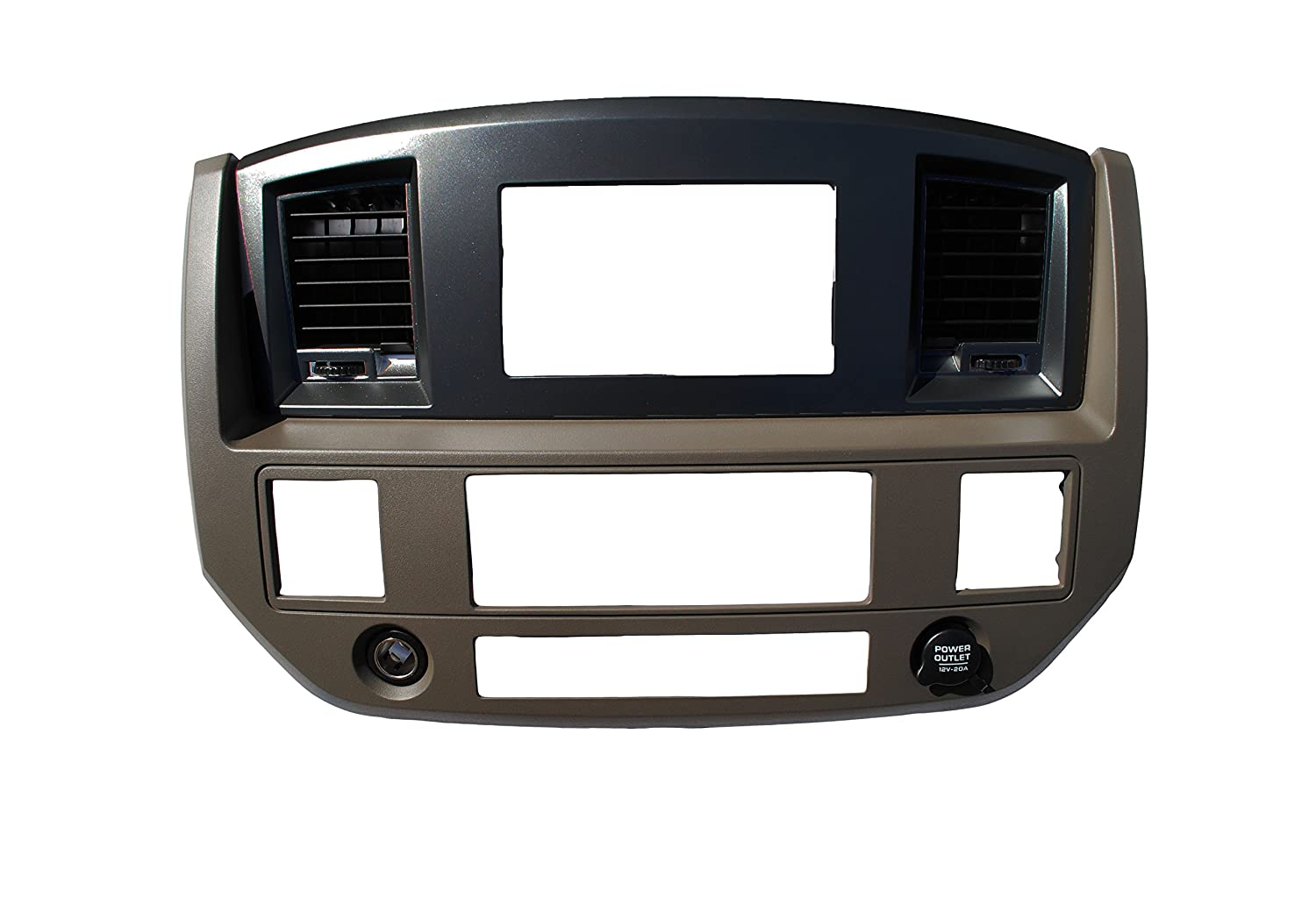 Dodge Ram 2006 2007 2008 2009 Aftermarket Double Din Stereo Radio Dash Kit Install Bezel + Wiring Harness/Antenna Adapter(Khaki/Silver Premium Can-Bus Harness w/Steering Wheel Interface) Custom Install Parts