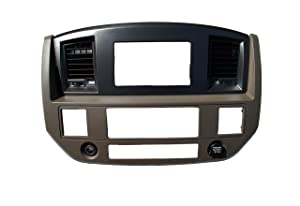 Dodge Ram 2006 2007 2008 2009 Khaki w/Upper Black Aftermarket Double Din Stereo Radio Dash Kit Install Bezel + Wiring Harness/Antenna Adapter (Khaki/Black and Standard Non Canbus Wire Harness)