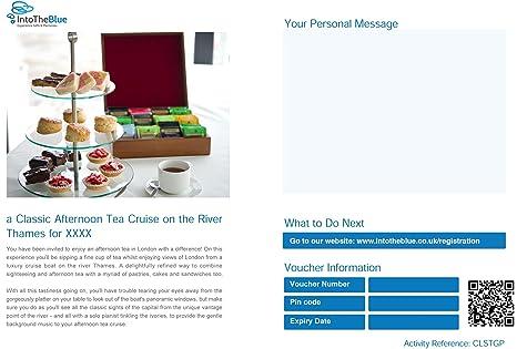 """Vale de regalo para dos personas por la tarde con texto en inglés """"Tea"""