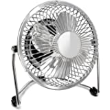 Mini Office Fan-Glamouric USB Small Fan Quiet Portable Angle Adjustable 4 Inch Blade Nice Airflow Desk Tabletop Personal Cooler for Work Study Home Travel (Silver)