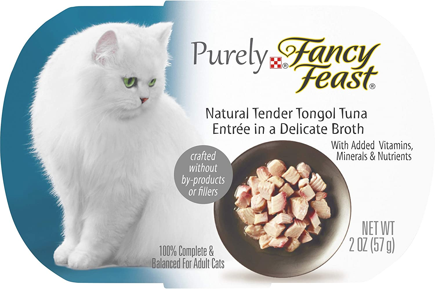 Purina Fancy Feast Natural Wet Cat Food, Purely Natural Tender Tongol Tuna Entree - (10) 2 oz. Trays