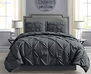 Empire Home Pintuck Hypoallergenic 8-Piece Bed in A Bag Comforter Set - Sheet Set Included!! (Gray, Queen)