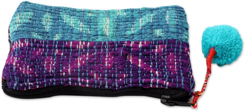 NOVICA Purple Recycled Sari Coin Purse Turquoise Festivity