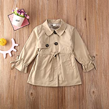 woshilaocai Toddler Kids Baby Girl Fall Winter Clothes Long Sleeve Jacket Trench Coat Windbreaker Breasted Belt Outerwear