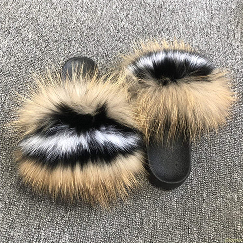 Womens Furry Slippers Ladies Cute Plush Fox Hair Fluffy Slippers Womens Fur Slippers,Fox Hair pink1,10.5