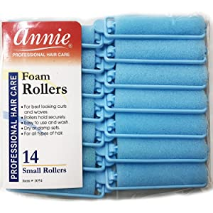 Annie Classic Foam Cushion Rollers #1051, 14 Count Blue Small 5/8 Inch (3 Pack)