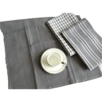 Cotton Luxury Assorted Kitchen Dish Towels, 45 x 65 cm Set of 3, Ultra Absorbent Fast Dry Professional Grade Tea Towels -Grey Color