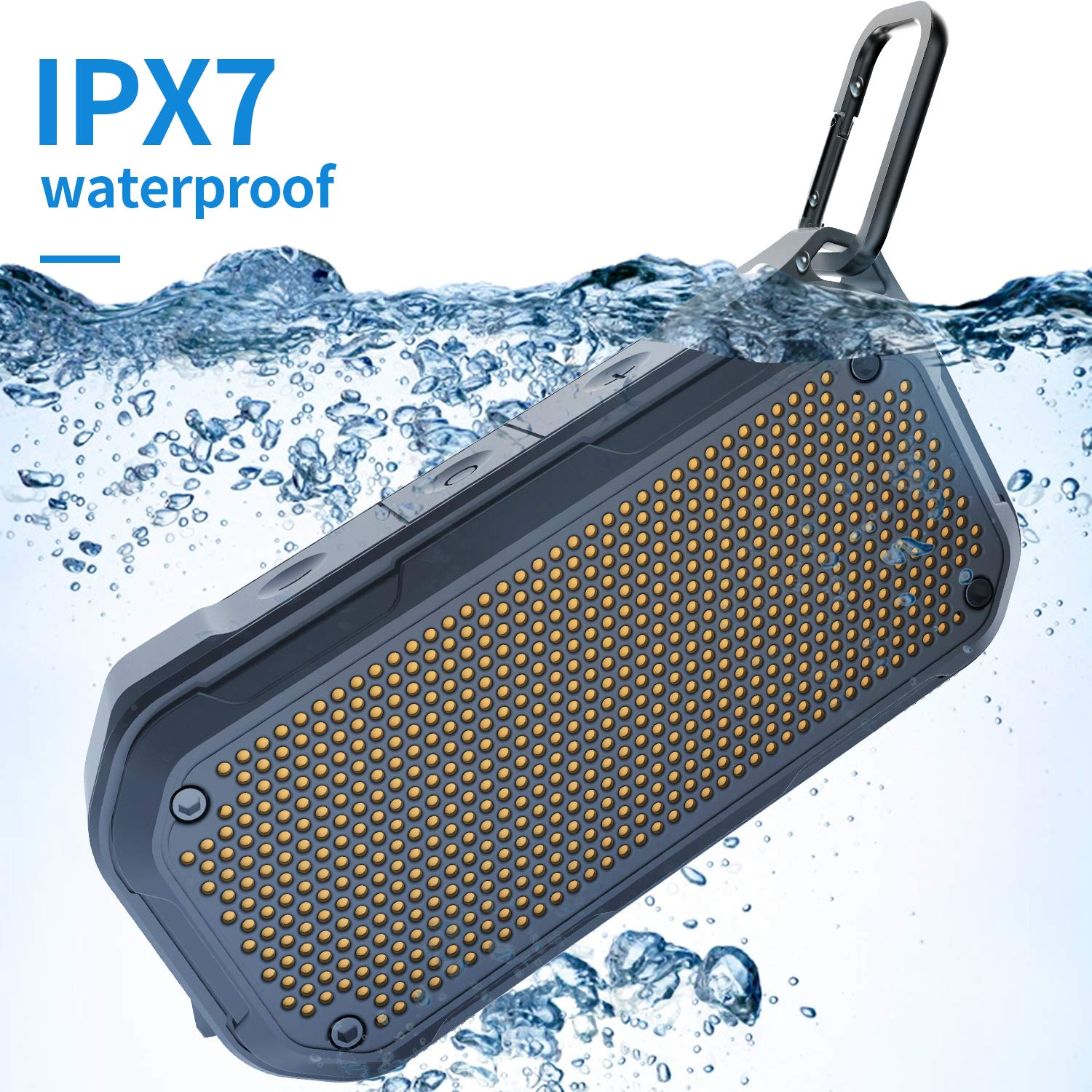 IPX7 Waterproof Speaker Bluetooth Wireless Portable Shower Speaker Outdoor Speakers 8-Hour Playtime with Mic AUX TF Card Supported for Bathtub Pool Kayaking Beach Seashore Party Climbing Travel AUDIIOO