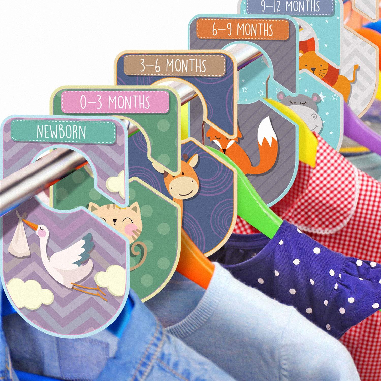 organizza l/'abbigliamento per tipo di abito o et/à cartellini unisex Set da 20 divisori da armadio per bambini a tema animale