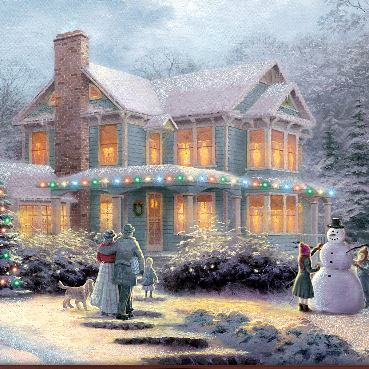 Amazon.com: Thomas Kinkade Victorian Family Christmas Illuminated ...