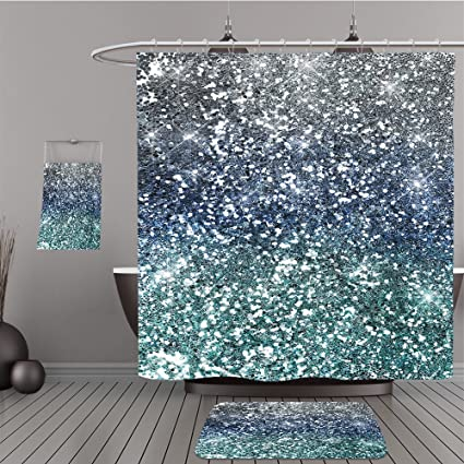 Uhoo Bathroom Suits Shower Curtains Floor Mats And Bath Towels 119485123 Blue Silver Glitter Sparkle