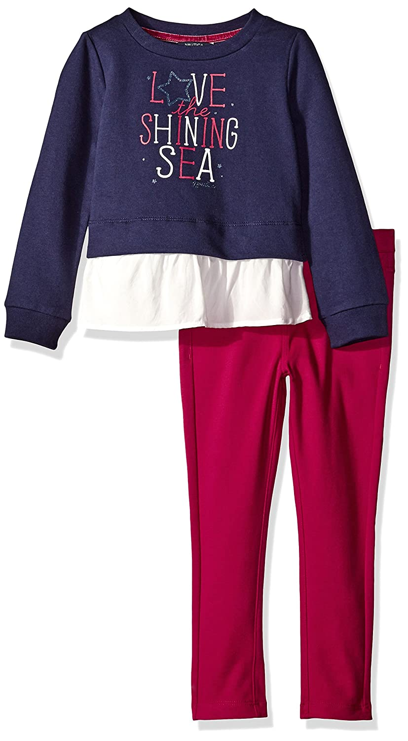 Nautica Girls' Two Piece Long Sleeve Legging Sets 36NDK0400Q1-101-P6