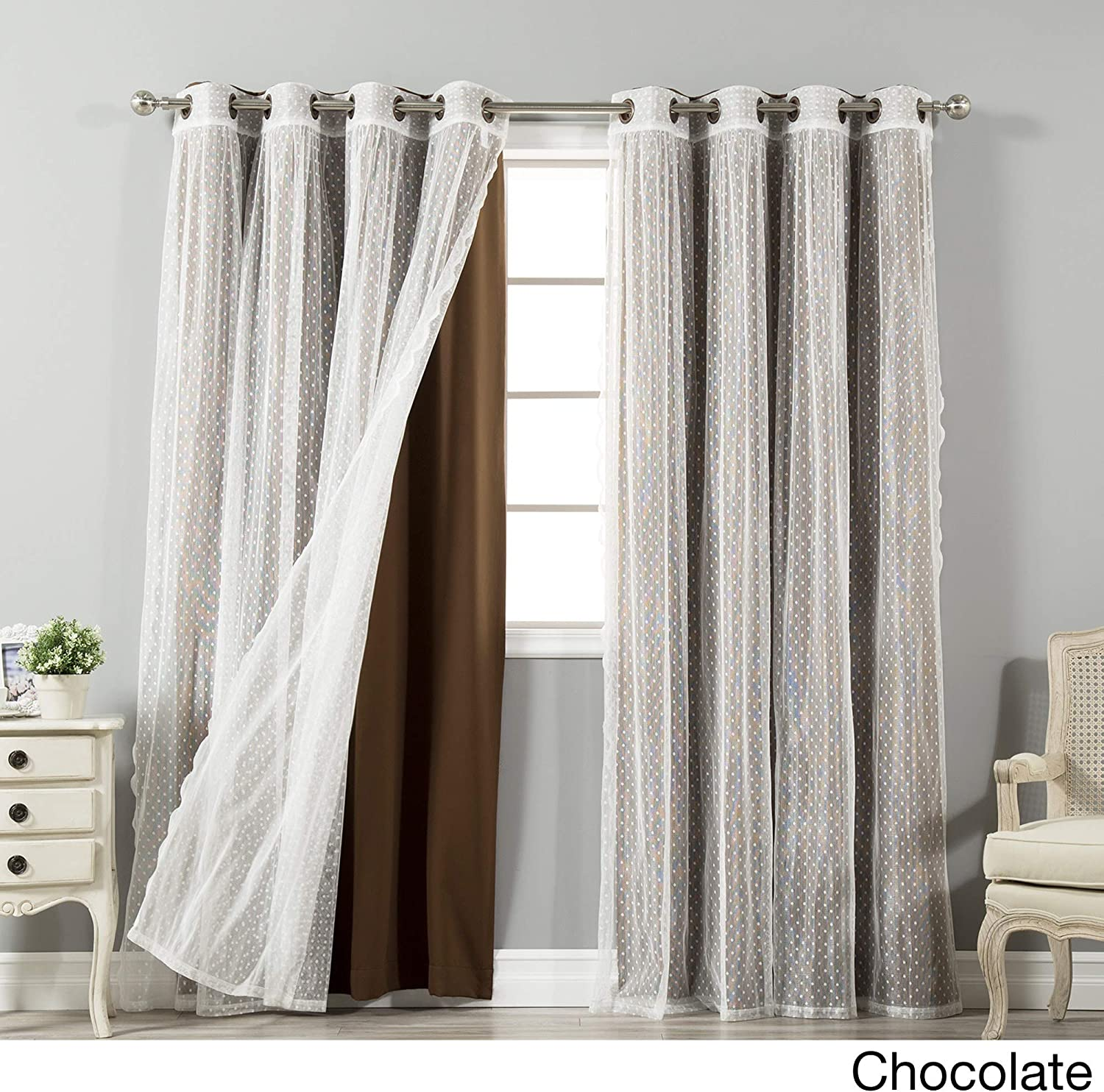 Aurora Home Mix & Match Blackout and Dot Sheer 4 Piece Curtain Panel Set - 52x84 Chocolate 84 Inches