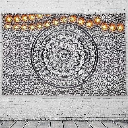 GeeRic Tapiz Pared, Tapiz de Mandala tapices de Pared de algodón Indio, Colcha de pícnic, Manta de Pared, Tapices Decorativos 150 × 230 cm Patrón Blanco y Negro: Amazon.es: Hogar